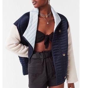 NWOT UO  Quilted Satin Colorblock Jacket Coat S